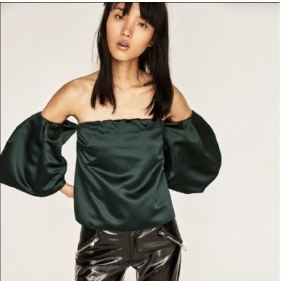 c55cbac1bc0 Zara Tops | Nwt Hunter Dark Green Off Shoulder Top Blouse | Poshmark